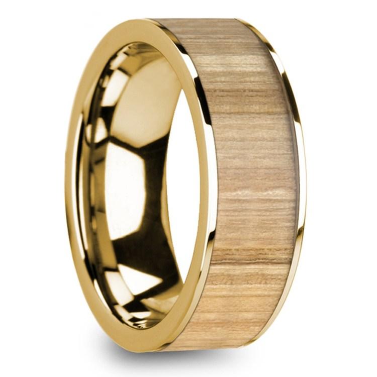 Ash Wood Inlay Men's Flat Wedding Ring in Yellow Gold | 02