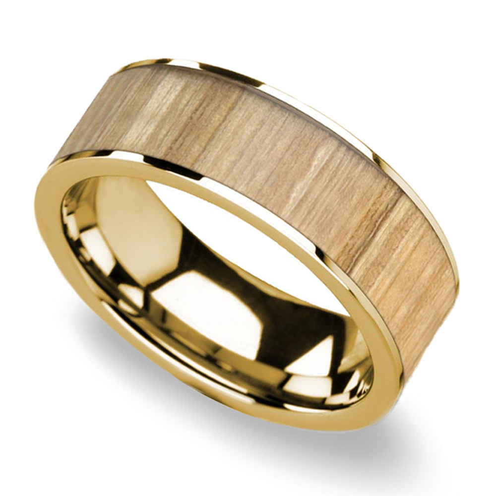 wooden wedding rings for men ash wood inlay men s flat wedding ring in yellow gold 1494