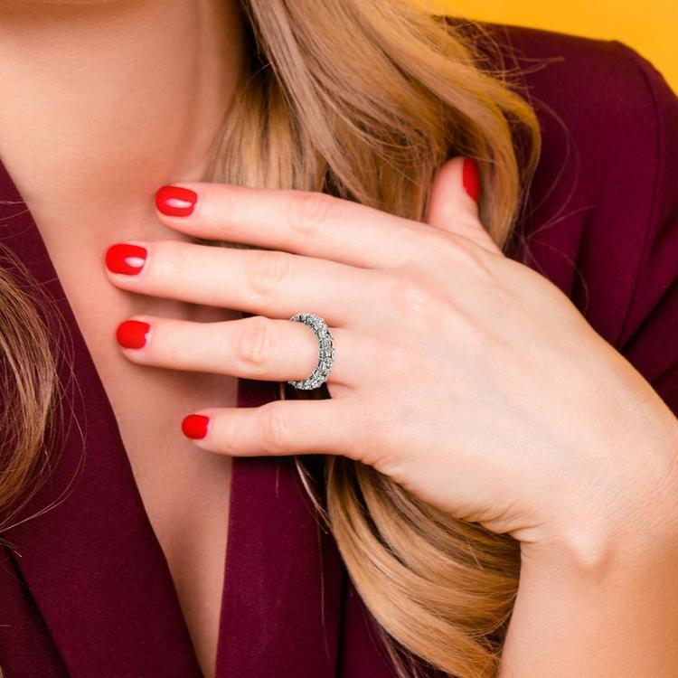 Asscher Cut Diamond Eternity Ring In White Gold (3 3/4 ctw) | 06