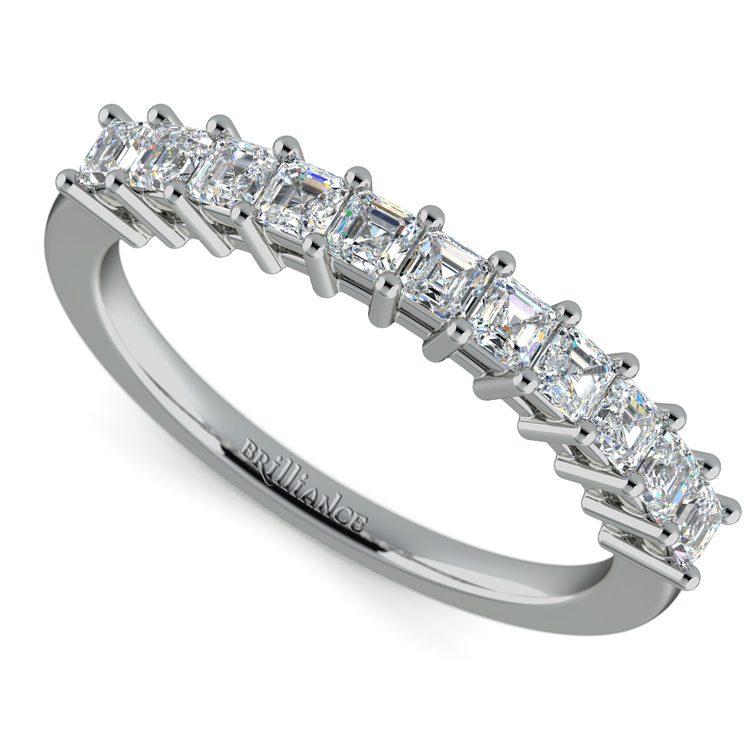 Asscher Eleven Diamond Wedding Band in White Gold (1/2 ctw) | 01