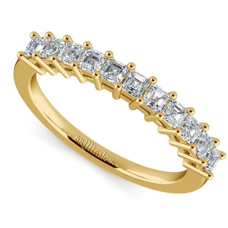 Asscher Eleven Diamond Wedding Band in Yellow Gold (1/2 ctw) | 01