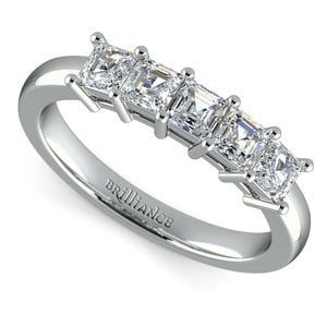 Asscher Five Diamond Wedding Ring in Platinum (1 ctw)