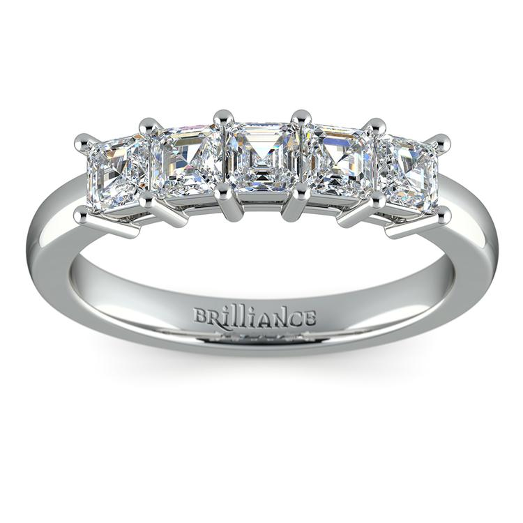 Asscher Five Diamond Wedding Ring in Platinum (1 ctw) | 02