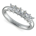 Asscher Five Diamond Wedding Ring in White Gold (1 ctw) | Thumbnail 01