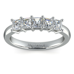Asscher Five Diamond Wedding Ring in White Gold (1 ctw) | Thumbnail 02