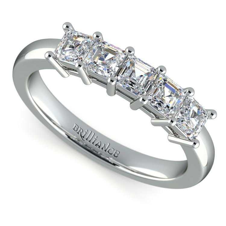 Asscher Five Diamond Wedding Ring in White Gold (1 ctw) | 01