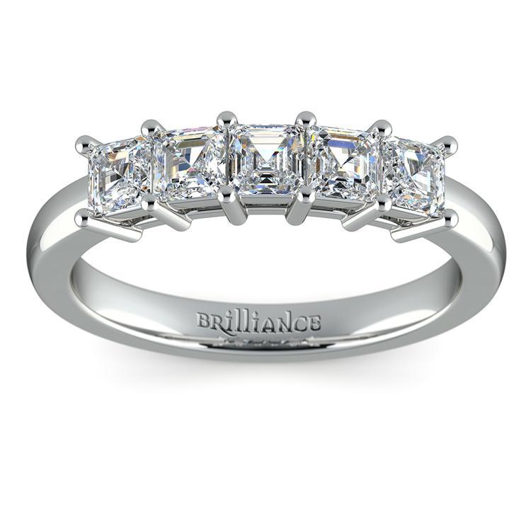 Asscher Five Diamond Wedding Ring in White Gold (1 ctw) | 02
