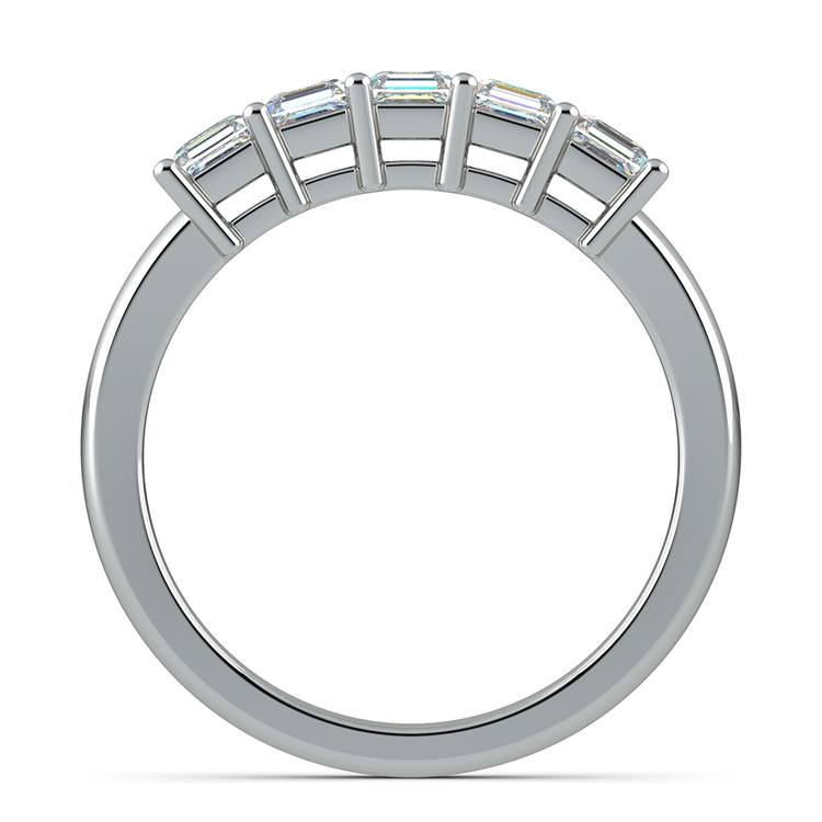 Asscher Five Diamond Wedding Ring in White Gold (1 ctw) | 03
