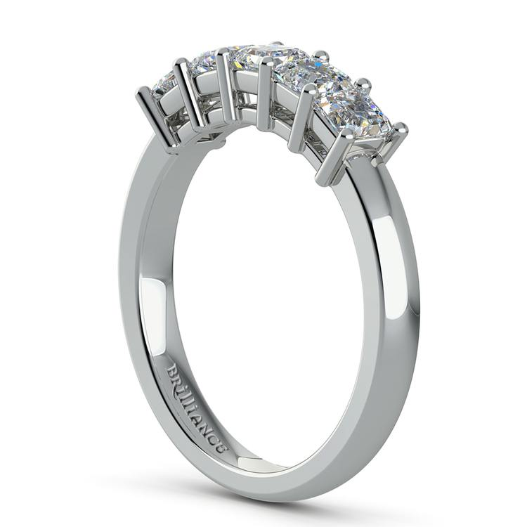 Asscher Five Diamond Wedding Ring in White Gold (1 ctw) | 04