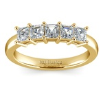 Asscher Five Diamond Wedding Ring in Yellow Gold (1 ctw) | Thumbnail 02