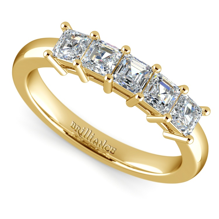 Asscher Five Diamond Wedding Ring in Yellow Gold (1 ctw) | 01