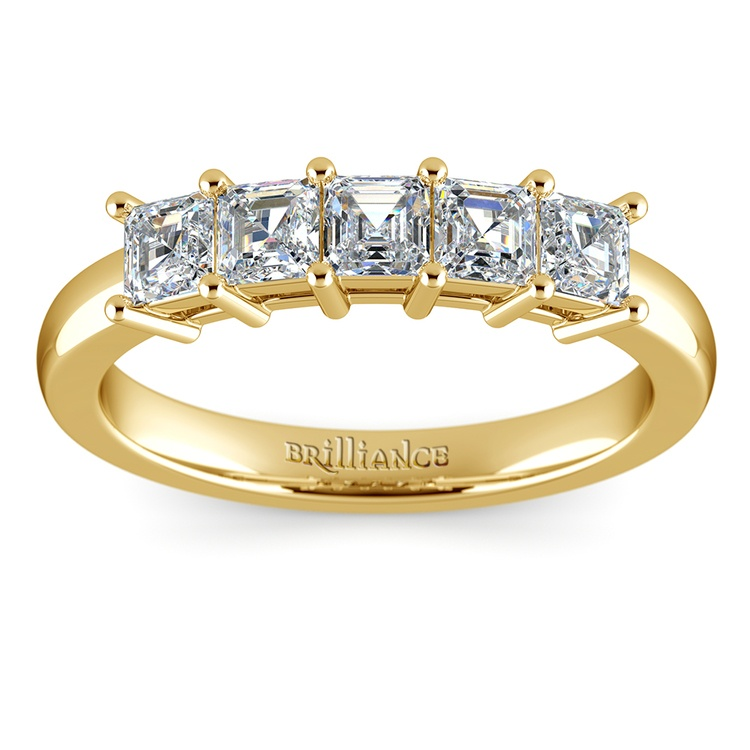 Asscher Five Diamond Wedding Ring in Yellow Gold (1 ctw) | 02