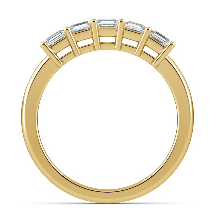 Asscher Five Diamond Wedding Ring in Yellow Gold (1 ctw) | 03