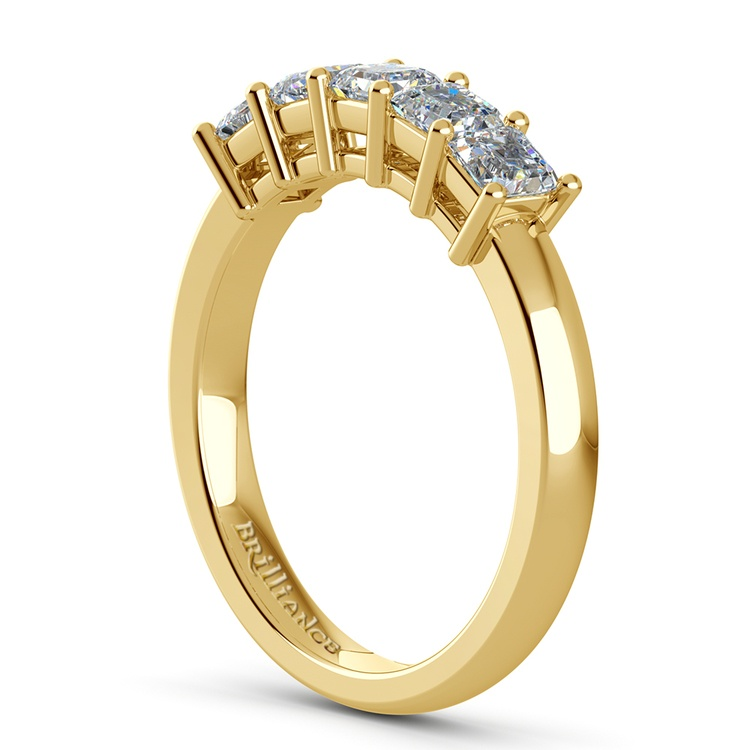 Asscher Five Diamond Wedding Ring in Yellow Gold (1 ctw) | 04