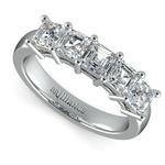 Asscher Five Diamond Wedding Ring in Platinum (2 ctw)   Thumbnail 01