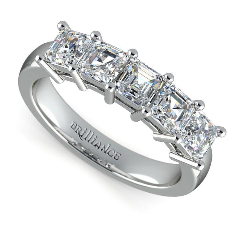 Asscher Five Diamond Wedding Ring in Platinum (2 ctw)   01