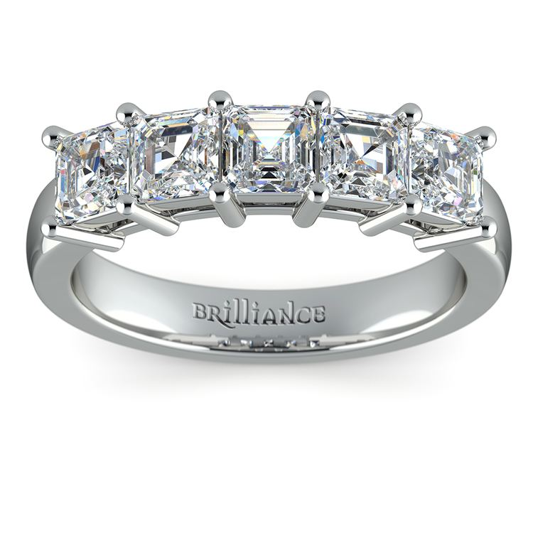 Asscher Five Diamond Wedding Ring in Platinum (2 ctw)   02