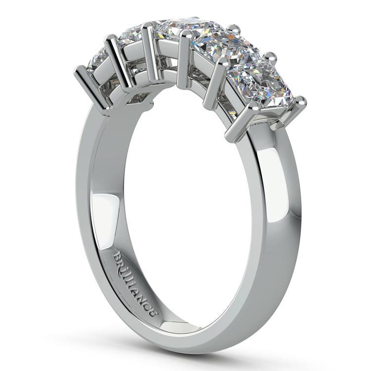 Asscher Five Diamond Wedding Ring in Platinum (2 ctw)   04