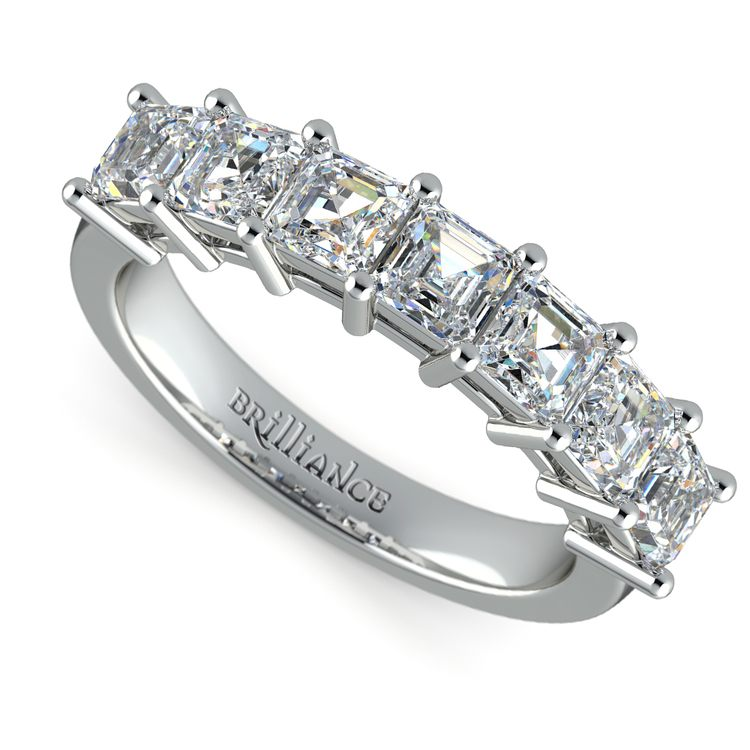 Asscher Seven Diamond Wedding Ring in Platinum (1 1/2 Ctw) | 01