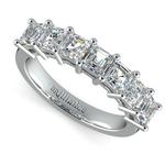 Asscher Seven Diamond Wedding Band in White Gold (1 1/2 Ctw) | Thumbnail 01