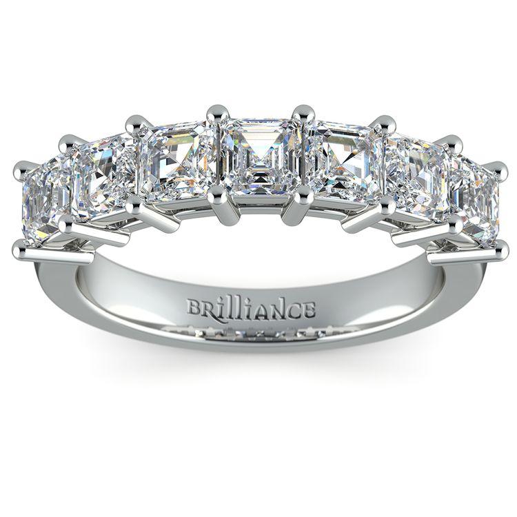 Asscher Seven Diamond Wedding Band in White Gold (1 1/2 Ctw) | 02