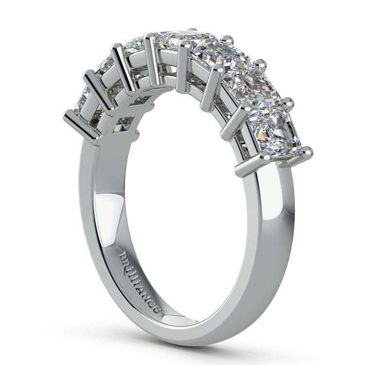 Asscher Seven Diamond Wedding Band in White Gold (1 1/2 Ctw) | 04
