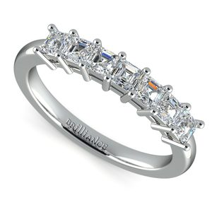 Asscher Seven Diamond Wedding Ring in Platinum (3/4 Ctw)