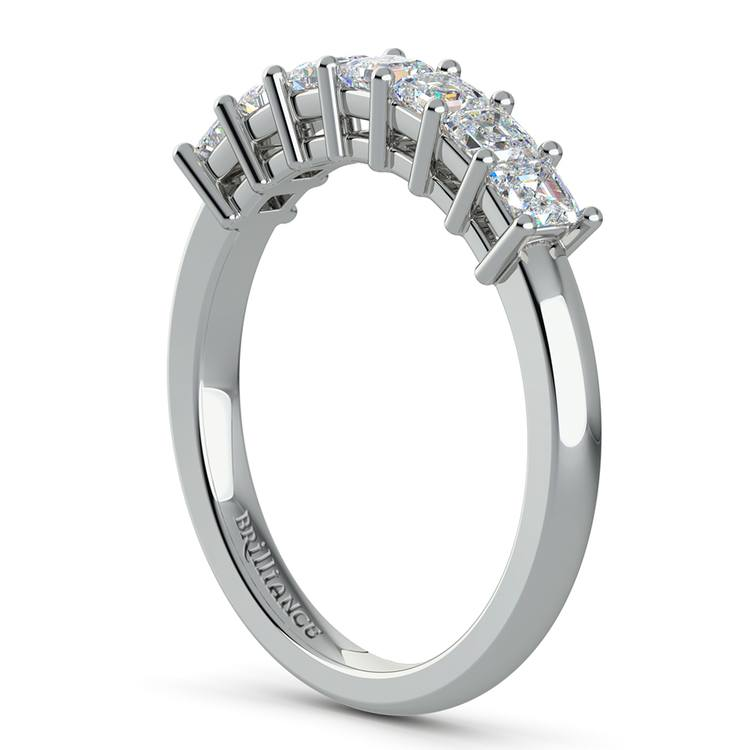 Asscher Seven Diamond Wedding Ring in Platinum (3/4 Ctw) | 04