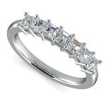 Asscher Seven Diamond Wedding Ring in White Gold (3/4 ctw) | Thumbnail 01