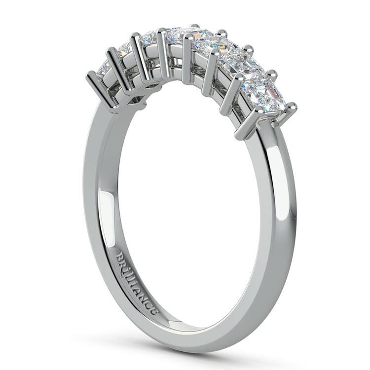 Asscher Seven Diamond Wedding Ring in White Gold (3/4 ctw) | 04