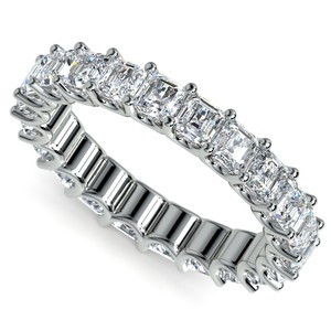 Asscher U-Prong Diamond Eternity Ring in White Gold (4 ctw)