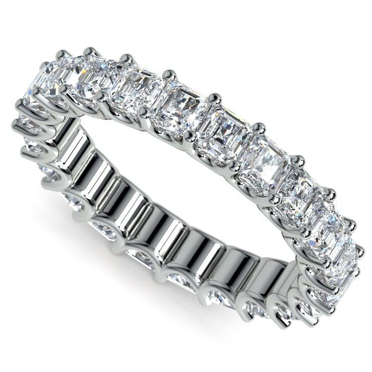 Asscher U-Prong Diamond Eternity Ring in White Gold (4 ctw) | 01