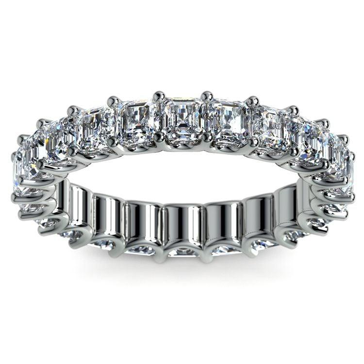 Asscher U-Prong Diamond Eternity Ring in White Gold (4 ctw) | 02