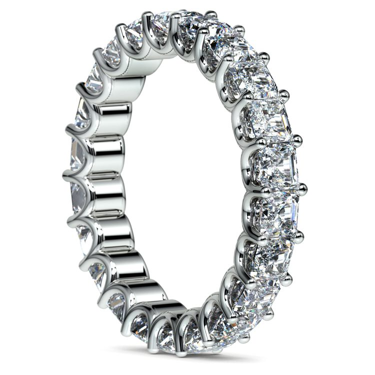Asscher U-Prong Diamond Eternity Ring in White Gold (4 ctw) | 04