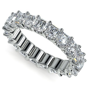 Asscher U-Prong Diamond Eternity Ring in White Gold (6 ctw)