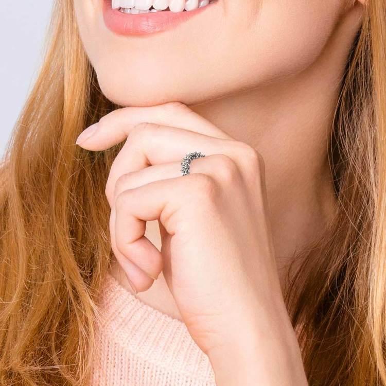 Asscher U-Prong Diamond Eternity Ring in White Gold (6 ctw) | 06