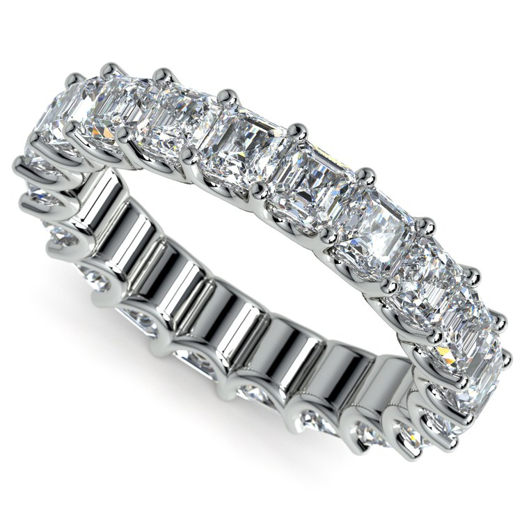 Asscher U-Prong Diamond Eternity Ring in White Gold (6 ctw) | 01