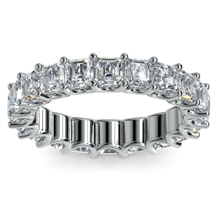 Asscher U-Prong Diamond Eternity Ring in White Gold (6 ctw) | 02