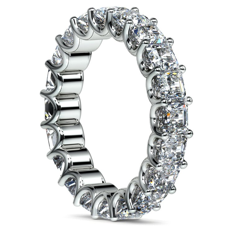 Asscher U-Prong Diamond Eternity Ring in White Gold (6 ctw) | 04