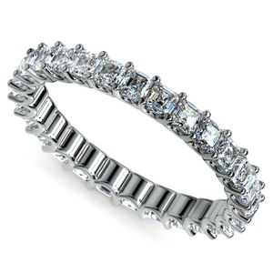 Asscher U-Prong Diamond Eternity Ring in White Gold (2 ctw)