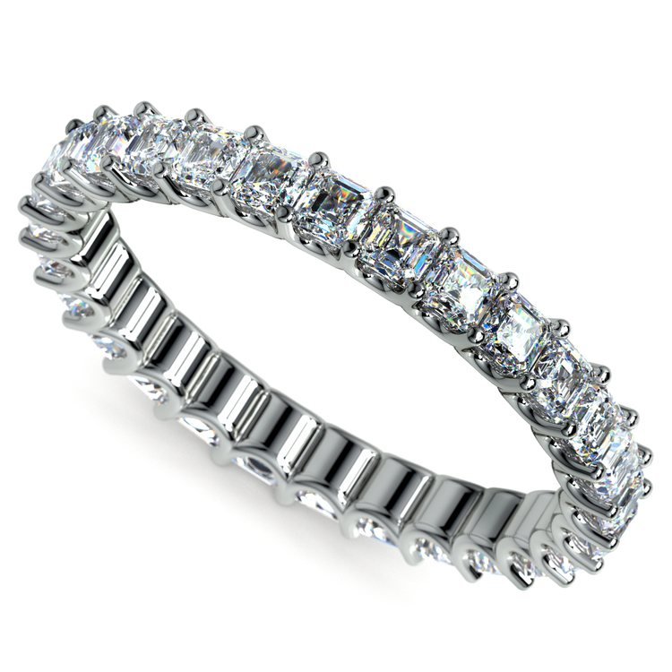 Asscher U-Prong Diamond Eternity Ring in White Gold (2 ctw) | 01