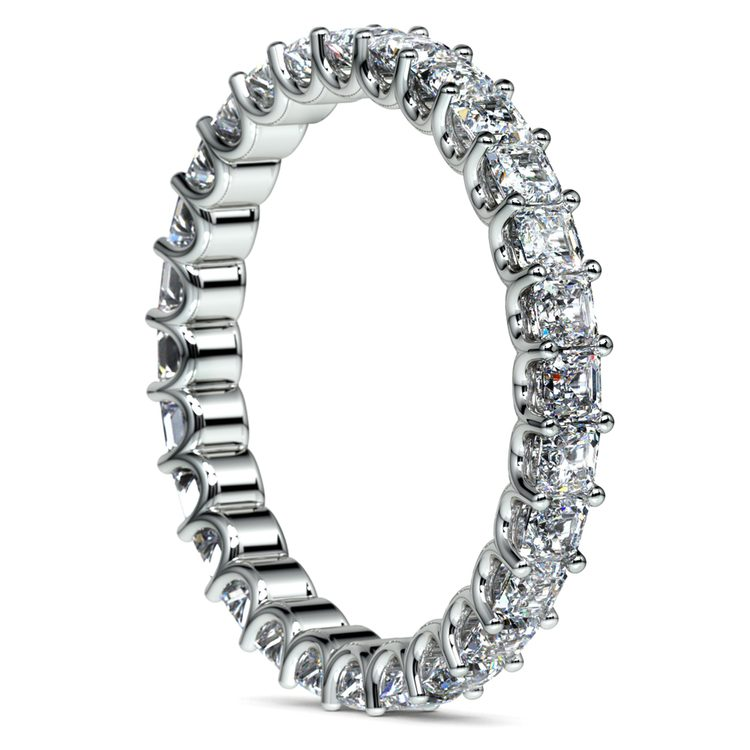 Asscher U-Prong Diamond Eternity Ring in White Gold (2 ctw) | 04
