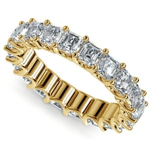 Asscher U-Prong Diamond Eternity Ring in Yellow Gold (6 ctw)