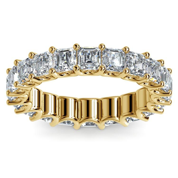 Asscher U-Prong Diamond Eternity Ring in Yellow Gold (6 ctw) | 02