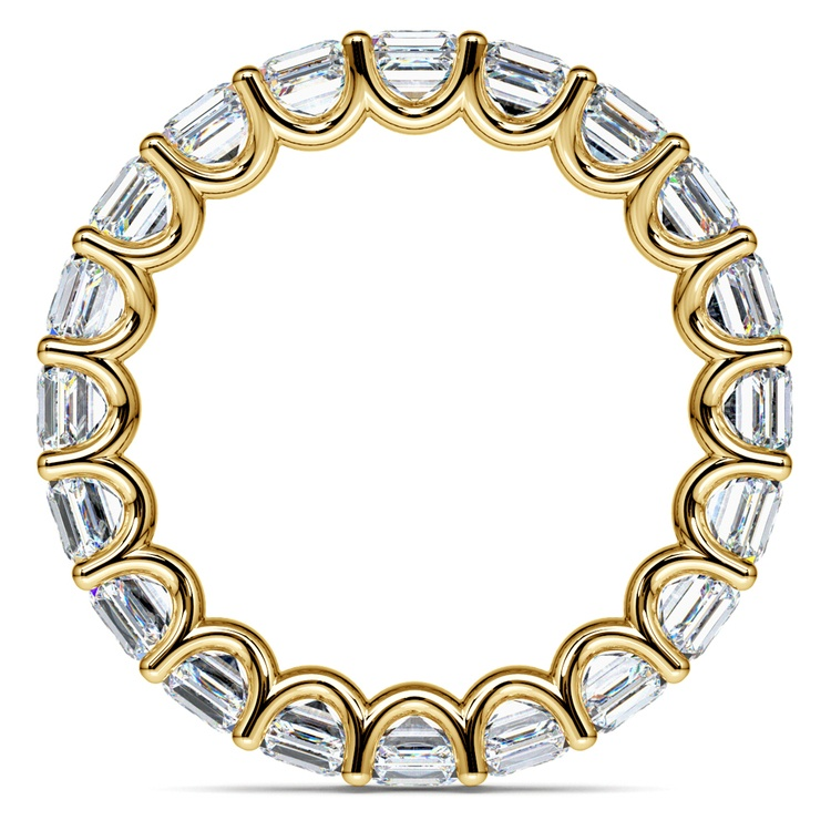 Asscher U-Prong Diamond Eternity Ring in Yellow Gold (6 ctw) | 03