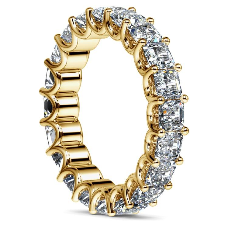 Asscher U-Prong Diamond Eternity Ring in Yellow Gold (6 ctw) | 04