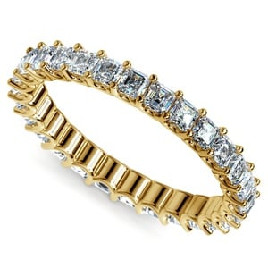 Asscher U-Prong Diamond Eternity Ring in Yellow Gold (2 ctw)