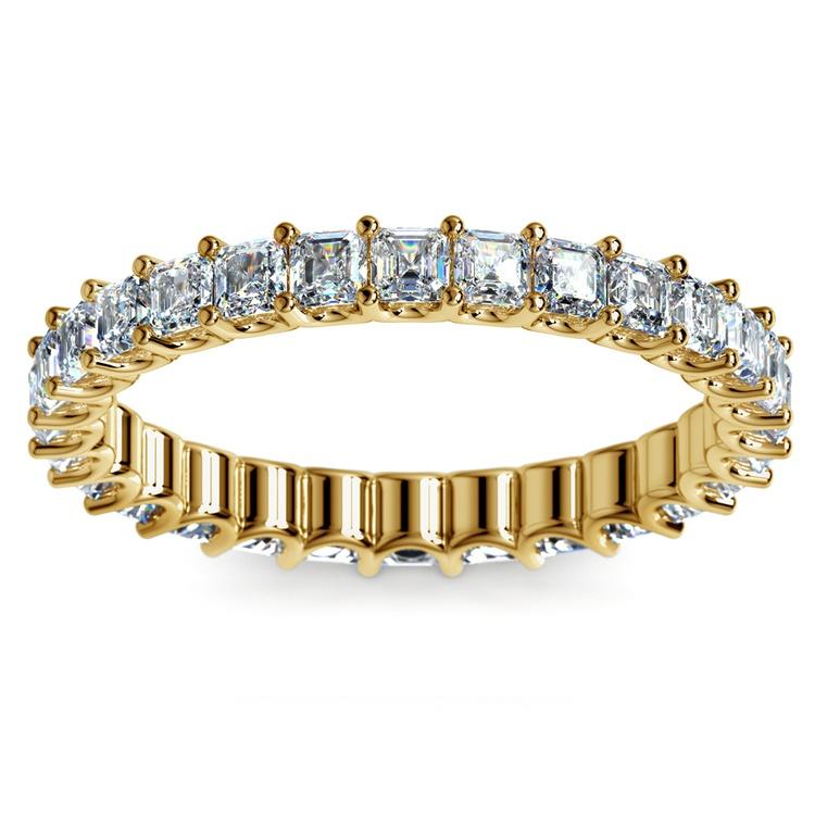 Asscher U-Prong Diamond Eternity Ring in Yellow Gold (2 ctw) | 02