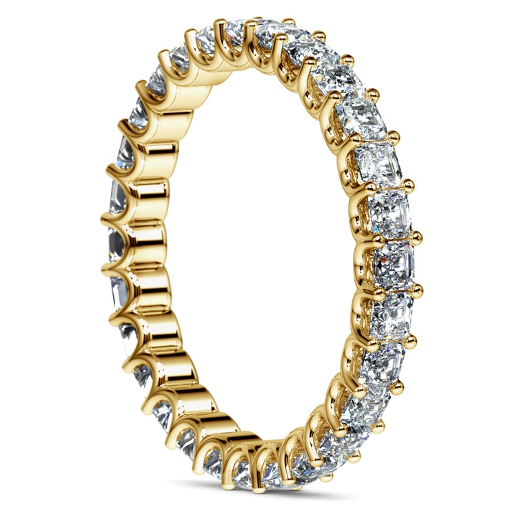 Asscher U-Prong Diamond Eternity Ring in Yellow Gold (2 ctw) | 04