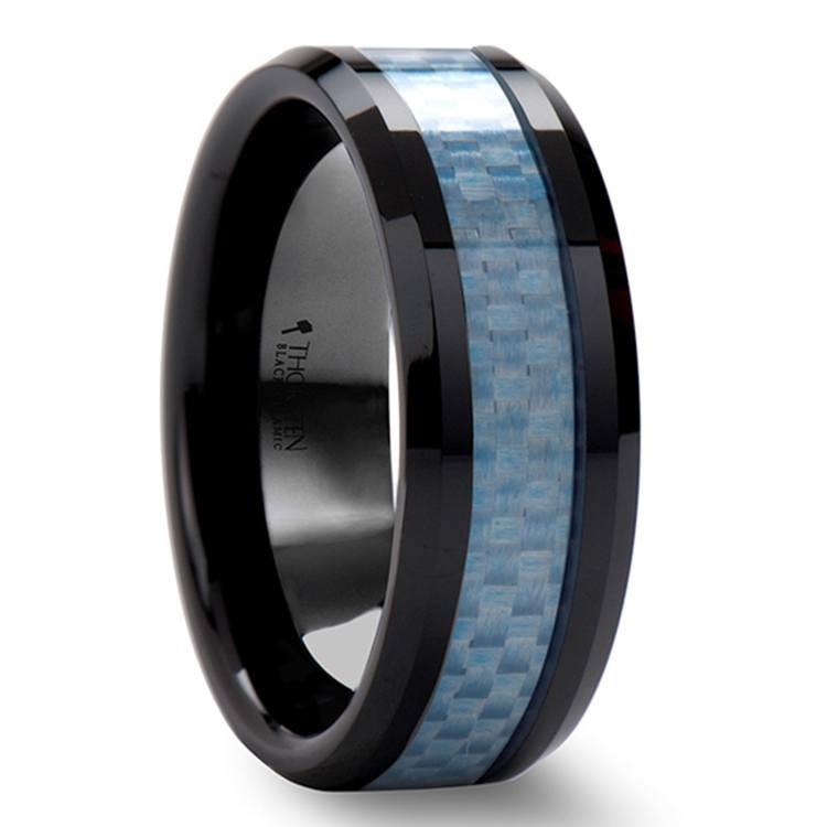 Beveled Blue Carbon Fiber Inlaid Black Ceramic Men's Ring (8mm) | 02